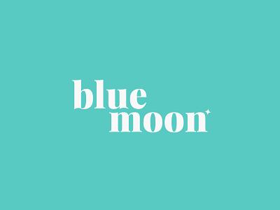 Blue Moon serif clean typography flat illustration vector brand aqua series wordmark logo teal moon blue