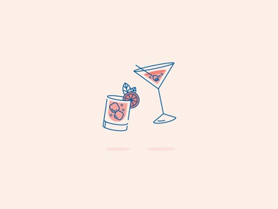 Cheers food cocktail martini beverage glasses glass cheers drink lines clean design icon vector flat illustration