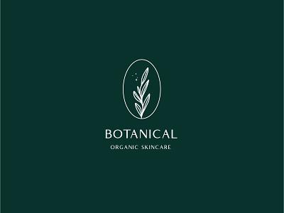 Botanical Organic Skincare oval emerald forest green botanical makeup nature natural skincare sparkle organic lines design clean icon brand vector flat logo illustration