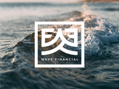 Wave Financial Logo design brand icon vector flat f w wf waves box illustration blue water thick lines square structure logo finance wave