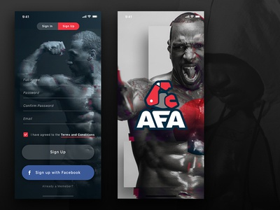 Daily UI Challenge # 1 - Sign Up glitcheffect logo prospect photoshop fitspo appdesign app fitness uidesign 100daychallenge signup daily-ui