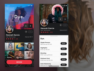 Daily UI Challenge # 6 - User Profile hair logo prospect photoshop user profile appdesign app stylist uidesign ui 100daychallenge daily-ui