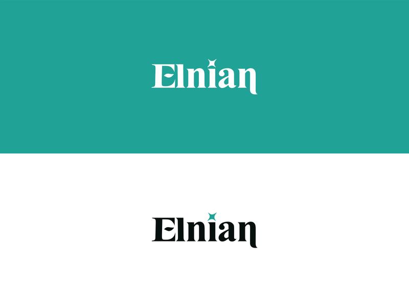 Elnian brand clean simple blue star luxury green fancy elegant elven leaf font typeface logotype old english
