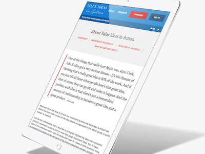 Membership Website for Value Investment gated content membership responsive red serif clean blue