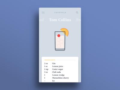 009 — Recipe app card recipe cocktail flat minimal ui 100daily dailyui