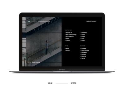 spgl.co — 2016 Concept 2.0 redesign reboot dark ui clean flat web design typography website portfolio minimal