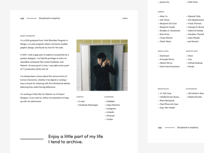 spgl.co — 2016 About Page about page clean dark flat minimal portfolio reboot redesign typography ui web design website