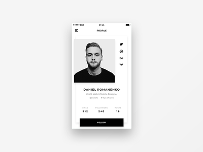 Daily UI #006 User Profile minimal clean white black iphone app user interface profile user ux ui