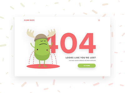 Daily UI #008 404 Page dumb ways funny clean error 404 user interface ui