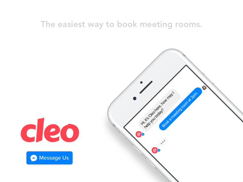 Cleo - The easiest way to book meeting rooms. schedule meeting rooms booking platform messenger facebook chat chatbot cleo