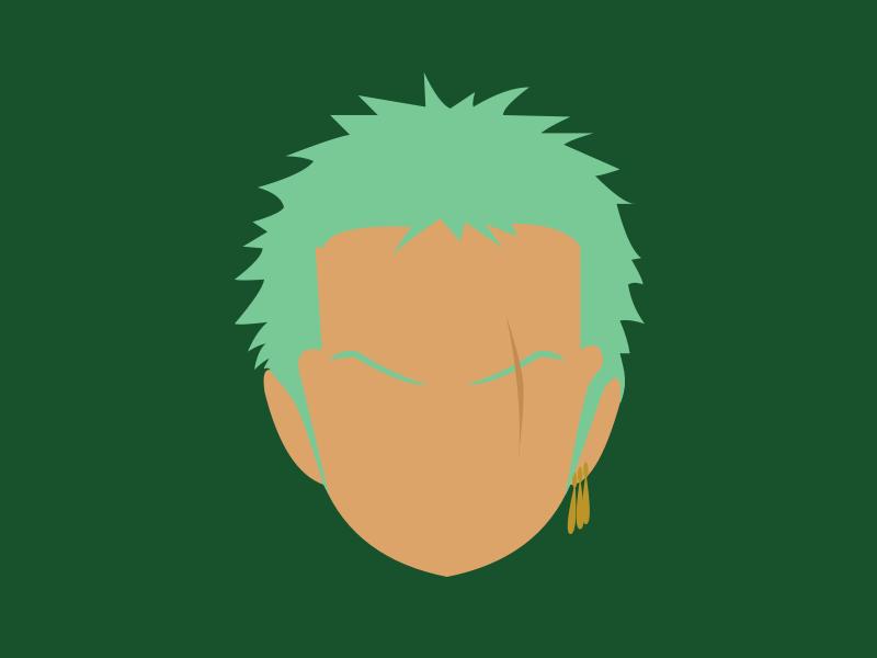 (43/100) Roronoa Zoro minimalist fighter swords warrior samurai pirates manga one piece onepiece green logo anime flat vector minimal illustration design 100 day challenge