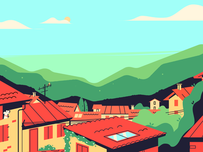 Italian Small Town illustration mountains landscape houses city cityscape town small town