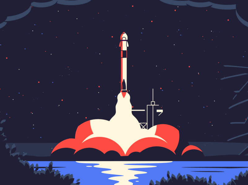 Rocket Launch nasa astronaut spacex smoke illustration space universe launch rocket