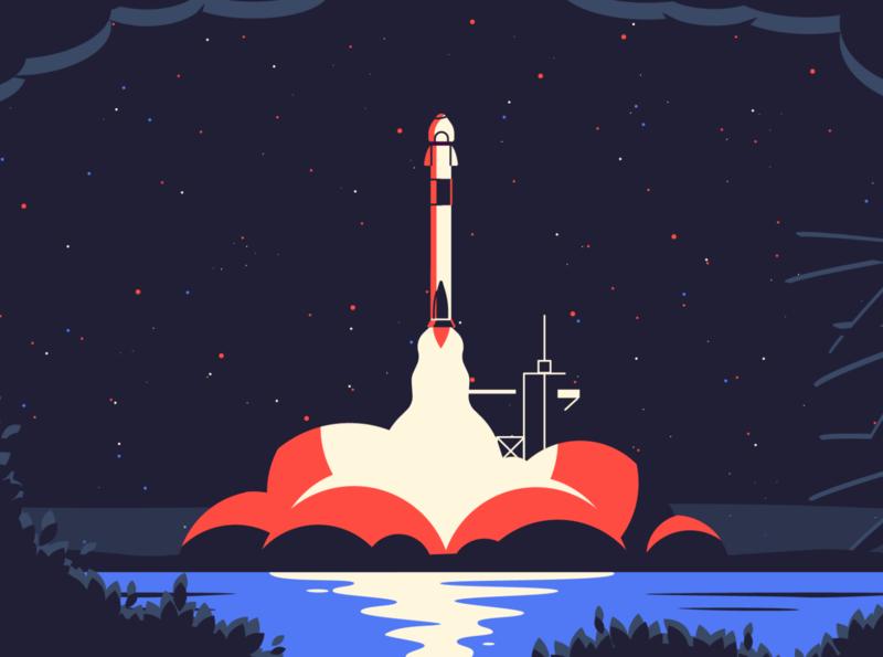 Rocket Launch nasa astronaut spacex smoke illustration space universe launch rocket