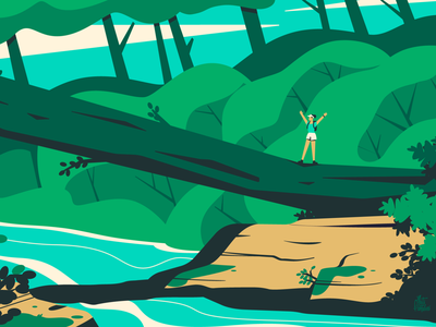 Hiking in the forest hiking nature river plants trees forest illustration vector woman flat character