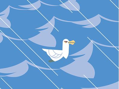 Seagull wave sea ocean vector flat illustration character duck bird seagull