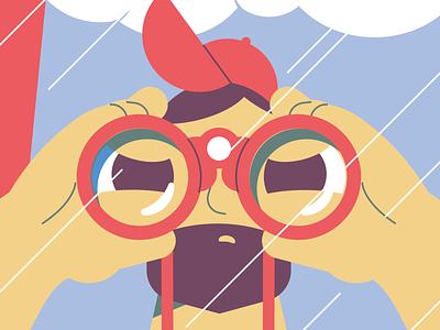 Lifeguard illustration flat vector beach character man hands binocular lifeguard