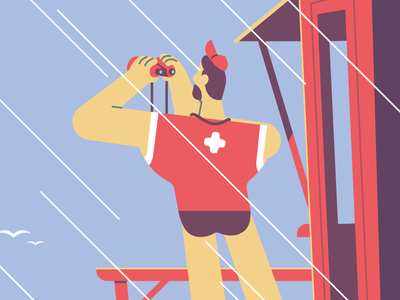 Lifeguard flat illustration vector binoculars man character beach lifeguard