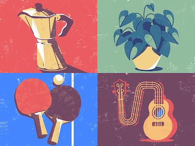Texture vector brushes texture illustration coffee moka plant ukulele tennistable pingpong