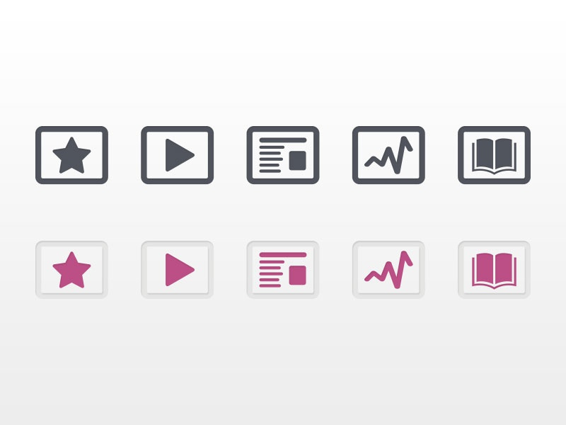 Icons icons flat illustration pink grey