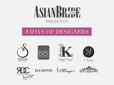 8 Days of Designers Campaign newsletter campaign fashion pink grey bride bridal asian