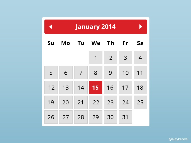 Free Calendar Widget PSD calendar widget freebie free red white grey psd