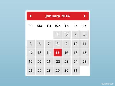 Free Calendar Widget Psd By Ajay Karwal Dribbble