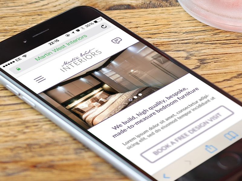 Early concept for furniture company concept furniture website mobile iphone