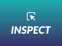 Inspect branding arrow pointer icon podcast gradient logo branding inspect