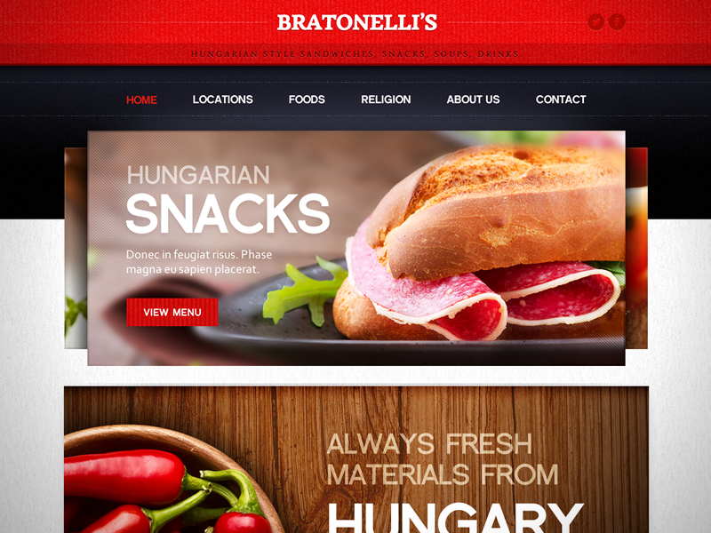 Sandwich Bar Website design web webdesign website fireworks sandwich food gastronomy grid home hungary