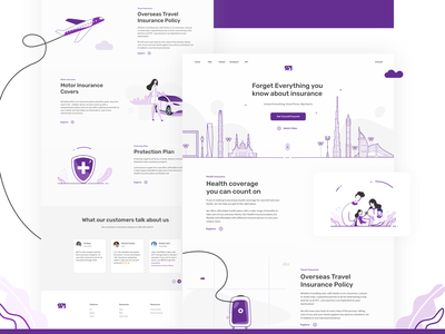 Insurance Landing Page interface purple policy cover plan protection portal ux ui dubai clouds footer testimonial travel motor health insurance illustration website landing page