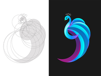 Peacock with logo grid