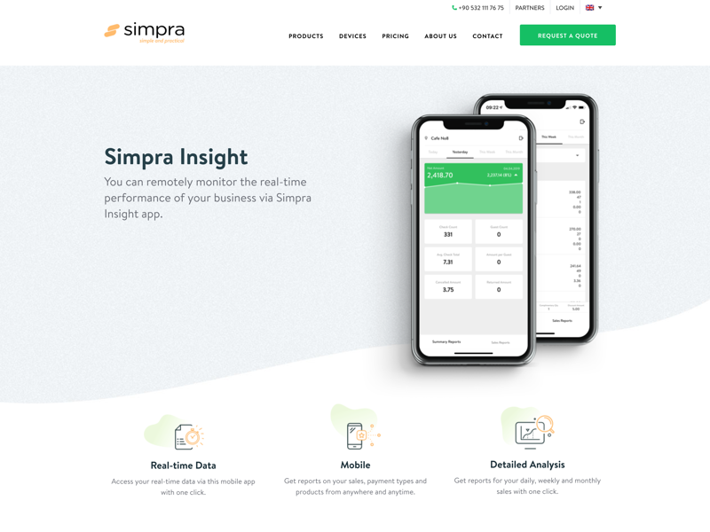 Simpra Mobile Sales Reporting product design website simple insight product ui web statistic report reporting clean