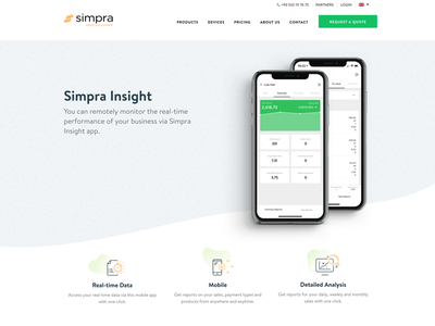 Simpra Mobile Sales Reporting product design website simple insight product ui web statistic report reporting clean