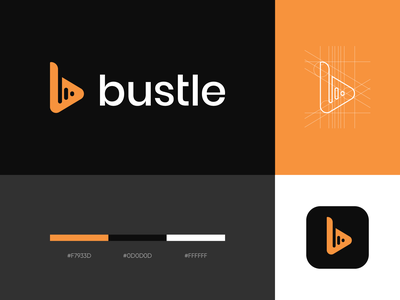 bustle beats logo soundwave sound music logo graphic design icon colors minimalism typography negative space logo clever logo clean simple b logo b monogram monogram logo grid corporate style brand identity logo design