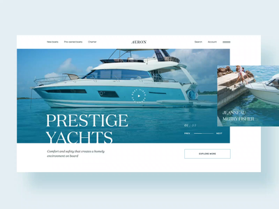 Aeron Yachts clean ui first screen interface ocean homepage design sailboats sailor sailboat charter interaction animation typography hero image slider web design ux ui design sea yacht seller yachting yacht club