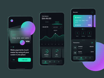 Wallet App transaction analytics card bank application fintech mobile wallet finance currency money interface uxui ui ux glassmorphism clean dark app chart