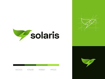 solaris logo logo kit clean simple renewable energy solar power solar energy eco green bird lightning bolt clever logo logo grid logo mark corporate style brand identity branding graphic design logo