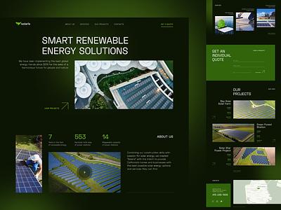 solaris landing page solar power solar eco green renewable energy website landing web grid layout typography hero image home page landing page webdesign web design