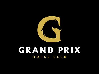 Grand Prix luxury g gold black horse smart logo negative space graphic identity design logo