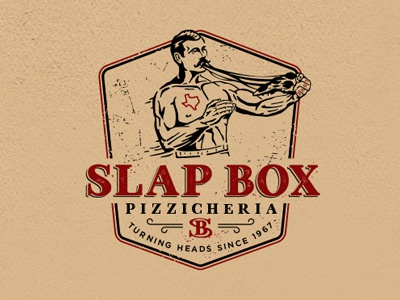 Slap Box litvinenkostudio texas typography lettering monogram sb beer pizzeria grunge rough vintage retro illustration branding identity graphics design logo