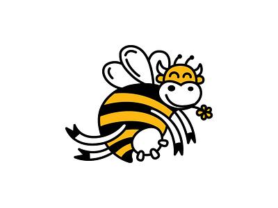 Honey Cones inspiration smart logo ai vector litvinenkostudio corporate style brand identity graphics design logo bee cow black yellow funny illustration cute cartoon mascot character
