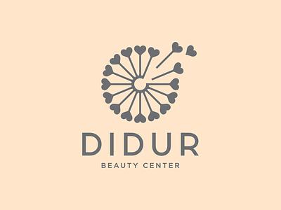 Didur dandelion logo flower logo litvinenko studio personal logo corporate style brand identity graphic design logo design grey biege typography style fashion beauty logo idea smart logo circle dynamic hearts dandelion