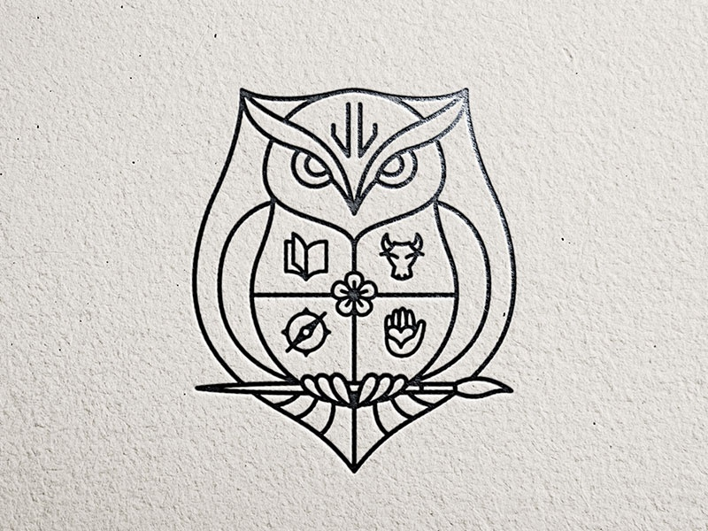 Family Crest owl illustration black and white line art logo litvinenko studio jl monogram shield coat of arms crest compass icon hand icon flower icon bull icon paintbrush icon book icon owl logo corporate style branding brand and identity graphic design logo design