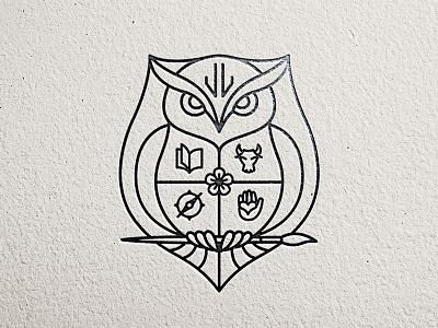 Family Crest owl illustration black and white line art logo litvinenko studio jl monogram shield coat of arms crest compass icon hand icon flower icon bull icon paintbrush icon book icon owl logo corporate style branding brand and identity graphic design logo design