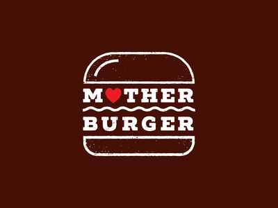 Mother Burger new york bar litvinenko studio smart logo logo idea inspiration corporate style brand identity branding typography minimalism restaurant food eat love heart icon burger logo grunge logo graphic design logo design