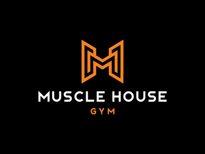 Muscle House Gym litvinenko studio typography sport crossfit powerlifting muscle gym logo minimalism mh logo branding mh monogram icon monogram logo corporate style brand and identity graphic design logo design