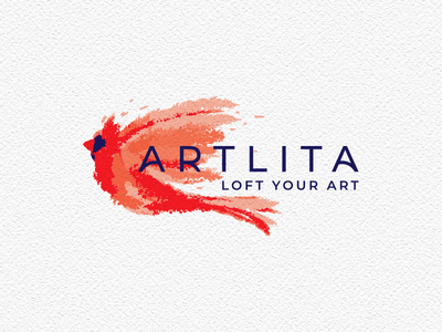Artlita logo mark litvinenko studio orange brush lettering brush logo watercolor logo bird logo red dynamic art artwork typography corporate style brand identity graphicdesign logo design