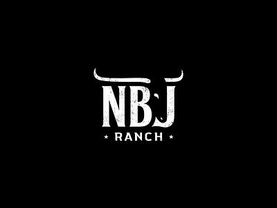 NBJ ranch logo concept vector corporate style branding minimalism brand identity cattle black and white smart logo creative clever logo litvinenko studio negative space logo horns bull ranch grunge star agriculture graphicdesign logo design