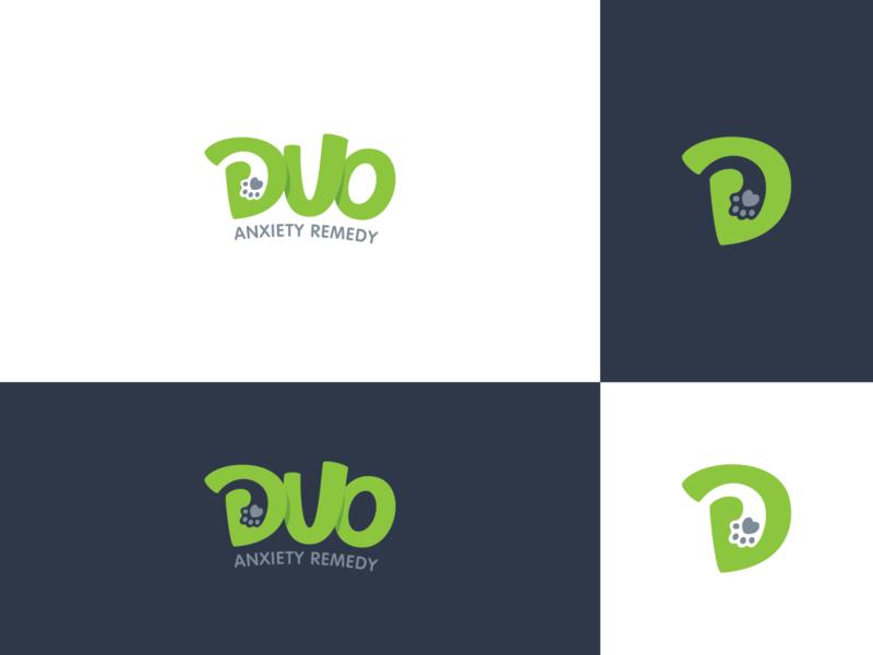 DUO paw animal logo litvinenko studio cleverlogo smart logo green dog cat playful negativespace illustration branding brand identity graphicdesign logodesign